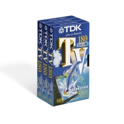 TDK TV 180 3 Hours VHS Blank Video Tapes E-180TVED (3-pack) BRAND NEW